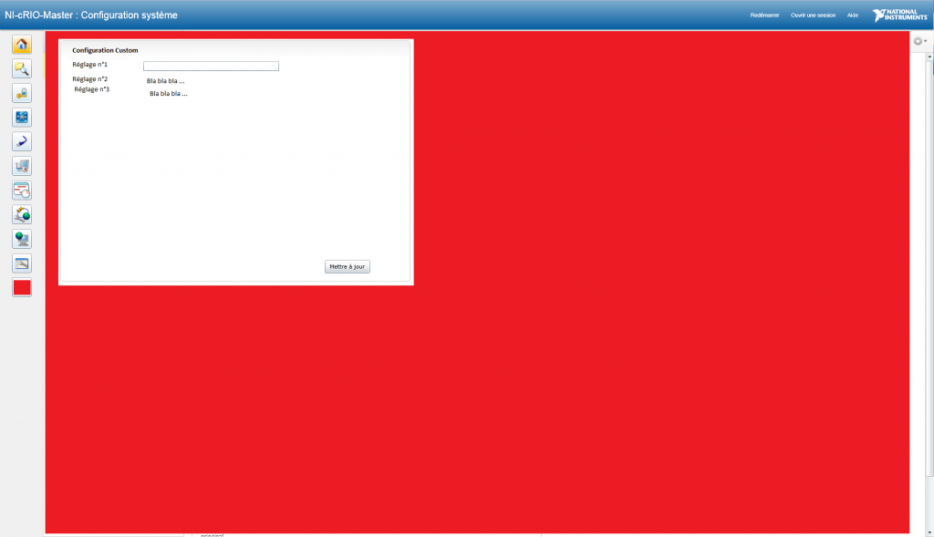 Screenshot Customized Web based configuration interface