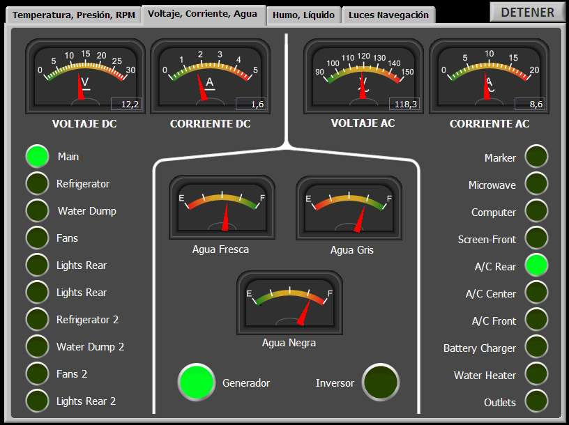 Boat Control System - Voltage, Current and Water Levels