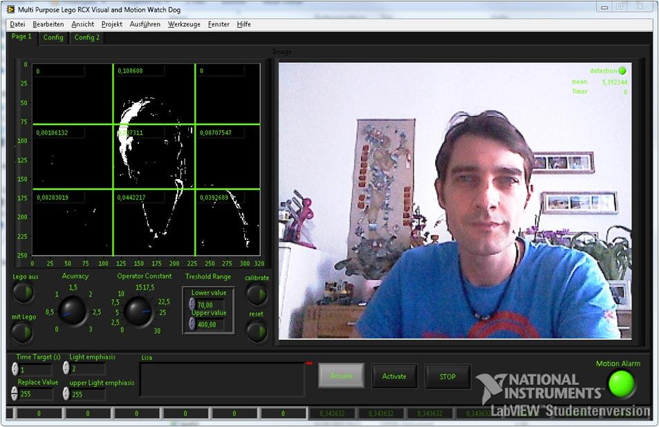 Lego RCX motion detection watch dog application