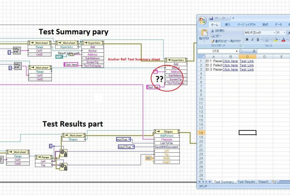 Excel- adding hyperlink in different sheets - LabVIEW